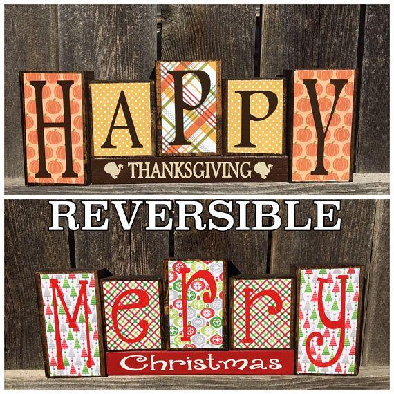 Reversible Christmas and Thanksgiving blocks, Happy Thanksgiving reverses with Merry Christmas wood blocks #happythanksgiving