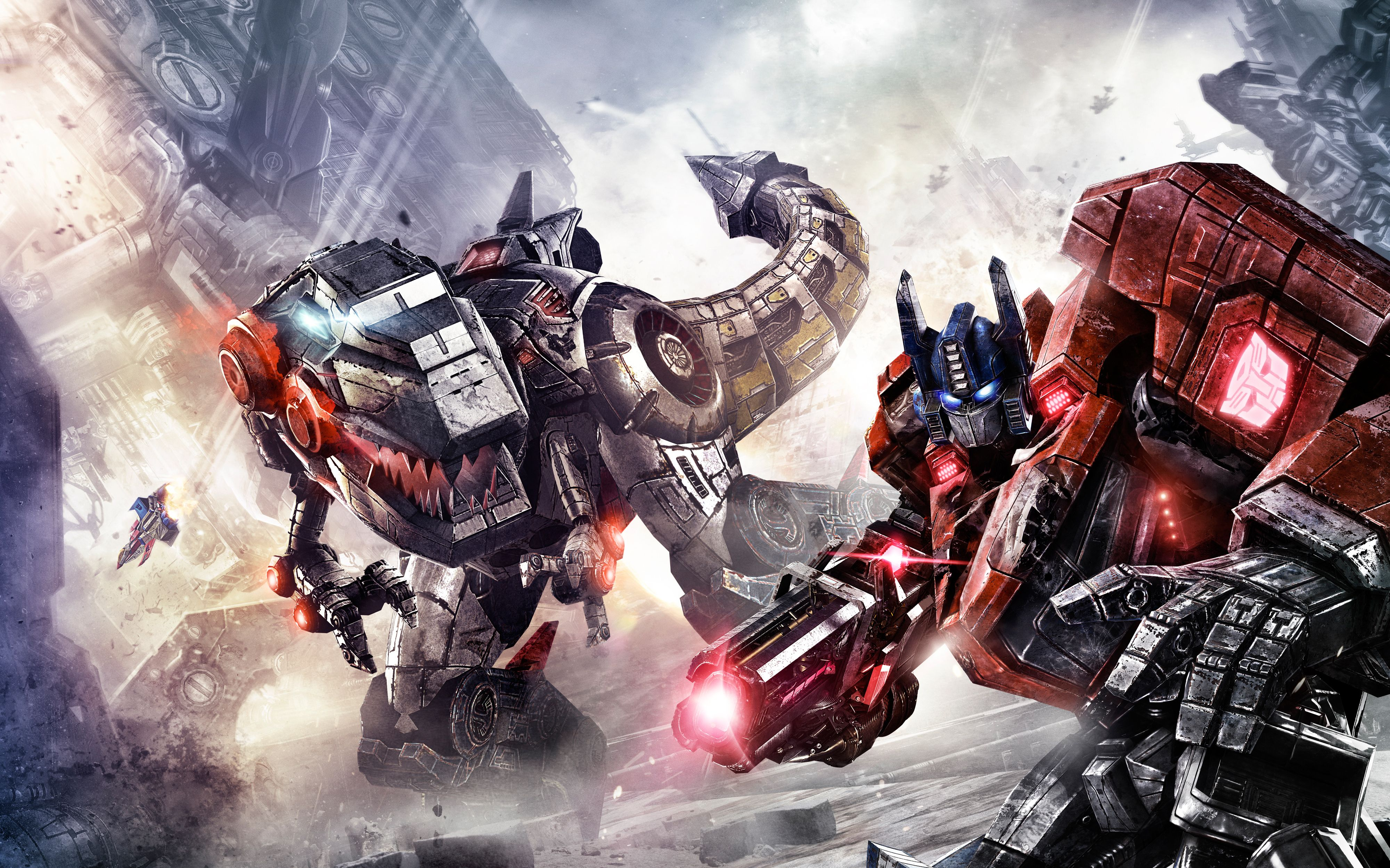 Transformers Fall Of Cybertron Game Hd Wallpaper Prime And Dinobot Transformers Transformers Art Graphic Wallpaper
