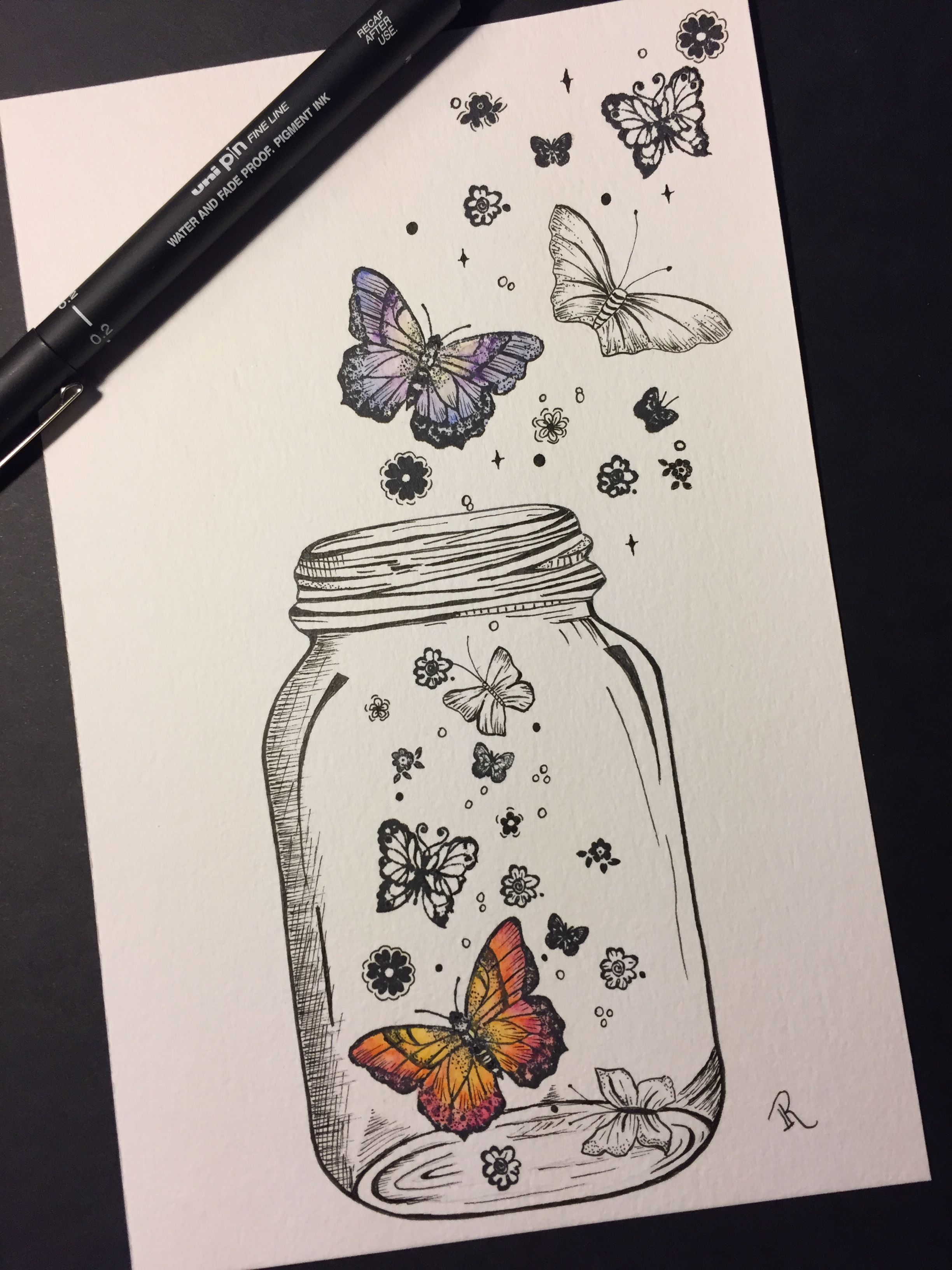 Butterflies In A Jar With Images Art Drawings Sketches Pencil
