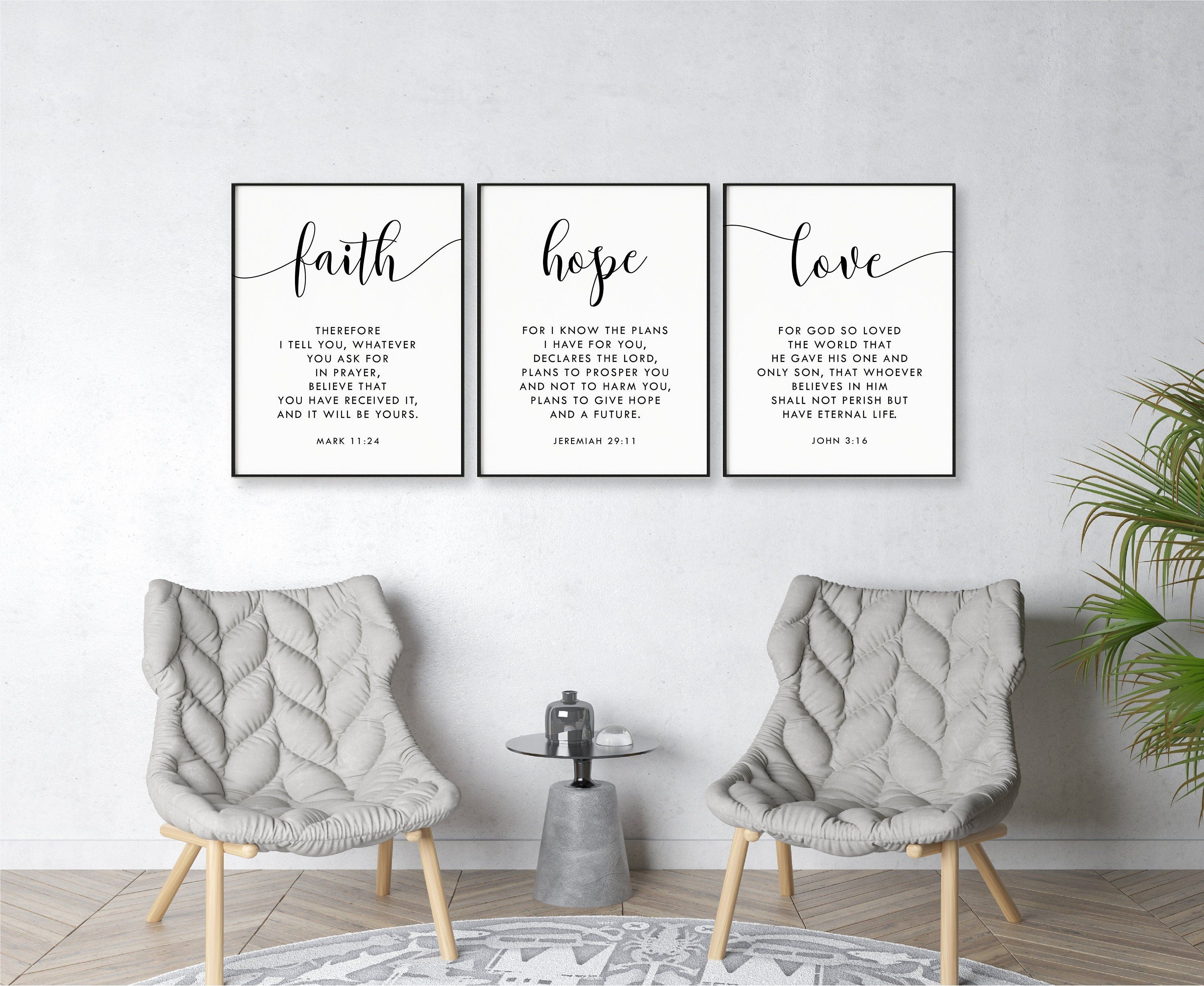 Faith Hope Love A Set Of 3 Bible Verse Printable Wall Art Etsy In 2021 Christian Wall Decor Printable Wall Art Living Room Christian Decor