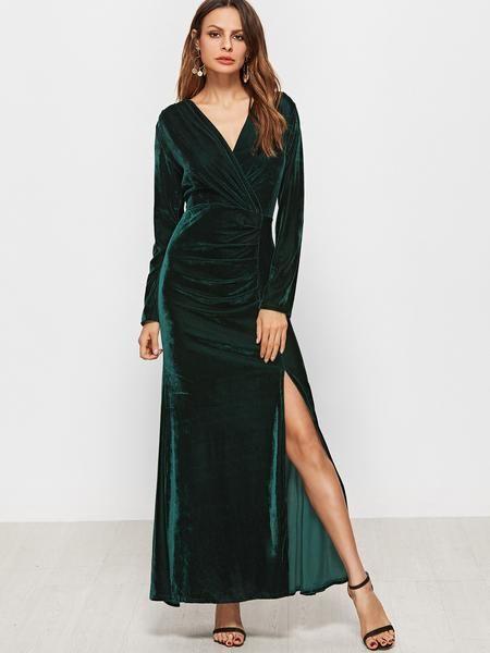ecbec8ad78ecd Dark Green V Neck Ruched Slit Hem Velvet Dress - Zooomberg | Fashion ...