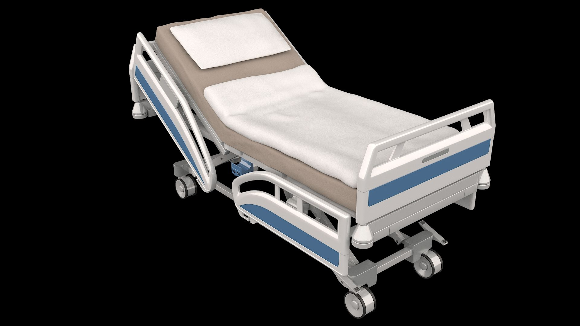 High detailed 3D model of a realistic hospital bed