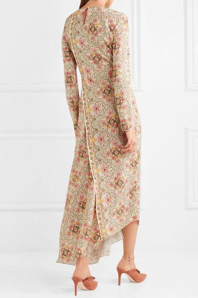 Karoline Wrap-effect Floral-print Silk-twill Midi Dress - Cream VILSHENKO 4mQAh1nId