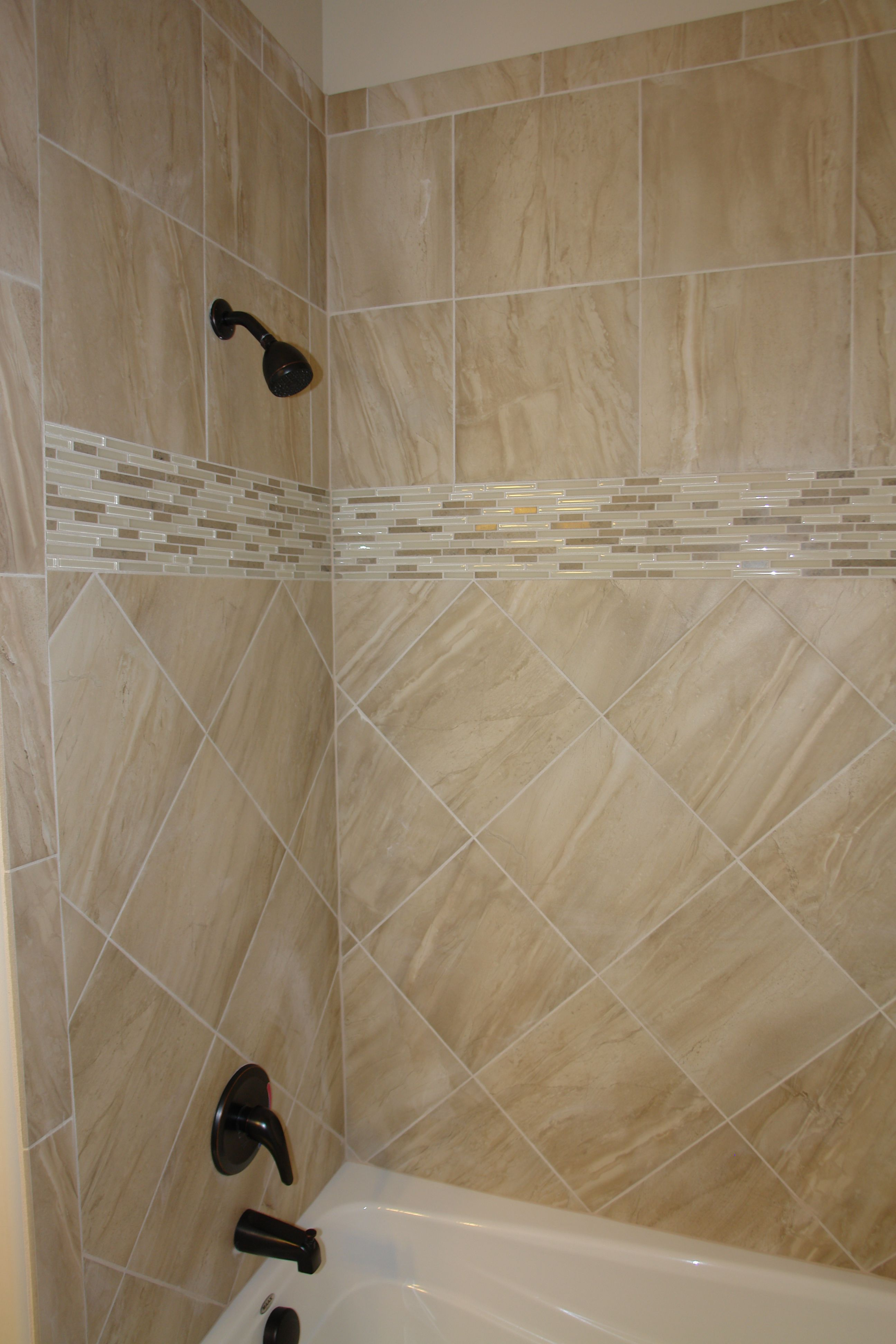 Tile Shower With Nice Tile Glass Mosaic Band Capell Flooring And