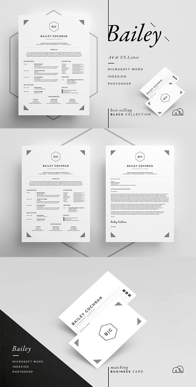 Professional ResumeCv  Business Card Template With A Clean