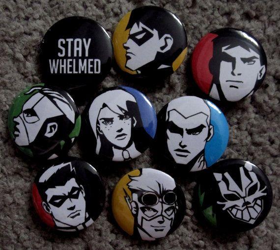 Young Justice Pins OMG I want these so bad AAAAAAAAHHHH. Need before I die.