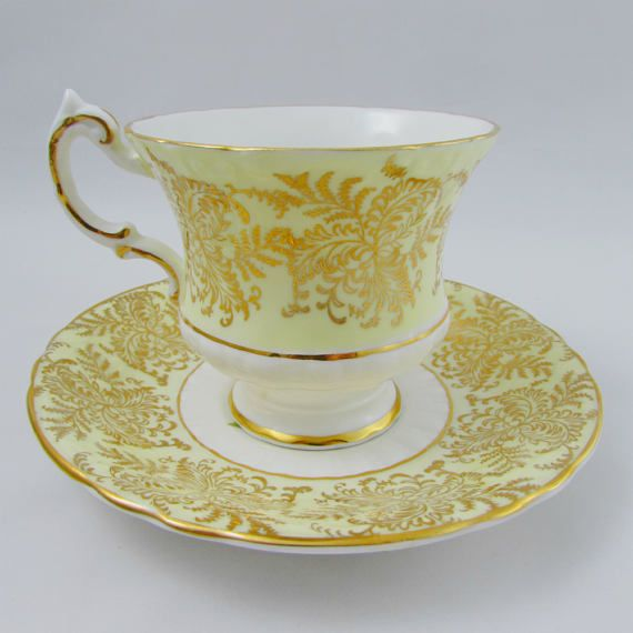 Paragon Tea Cup And Saucer Yellow With Gold Decoration Rose On Awesome Decorative Cups And Saucers