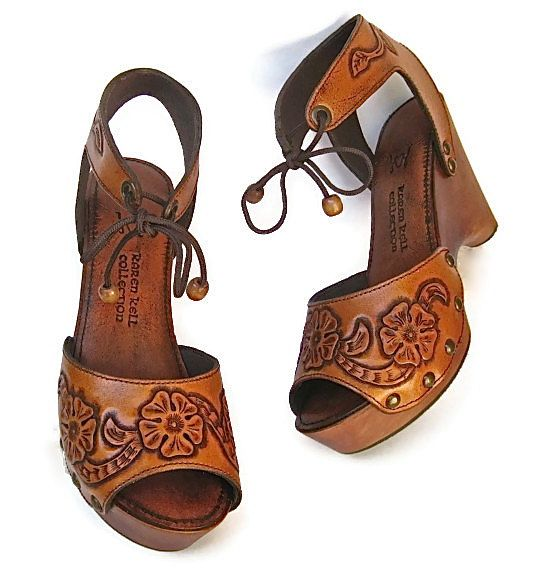85179f4a0a8aae Clog Shoe Tooled Flower Bohemian Wedge Handmade Custom Order ALL SIZES  AVAILABLE