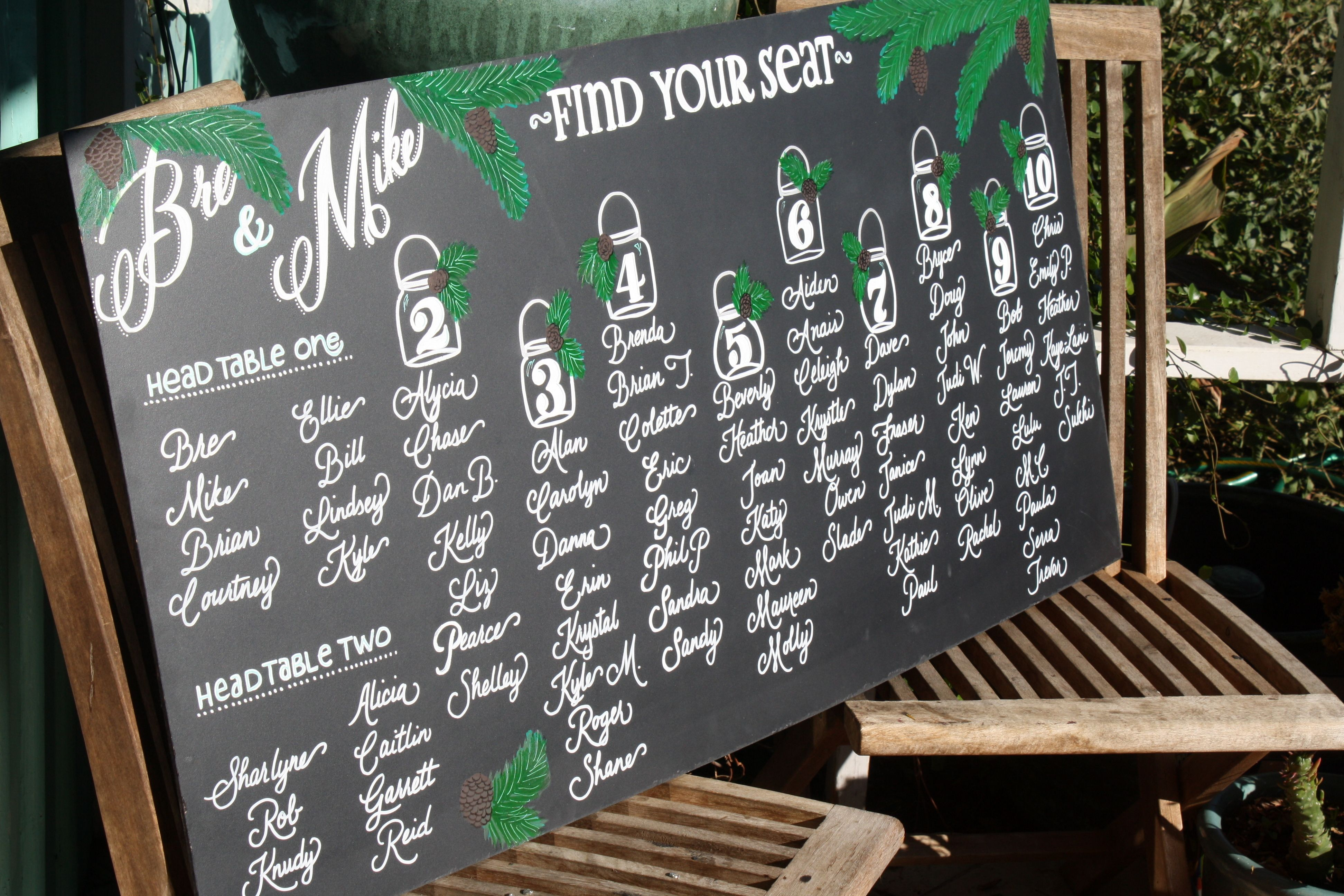 Chalkboard Seating Chart For A Woodsy Winter Cabin Wedding