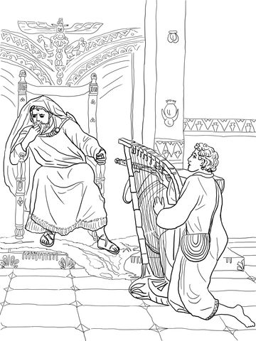 David Plays the Harp for Saul Coloring page | Famous People in the ...