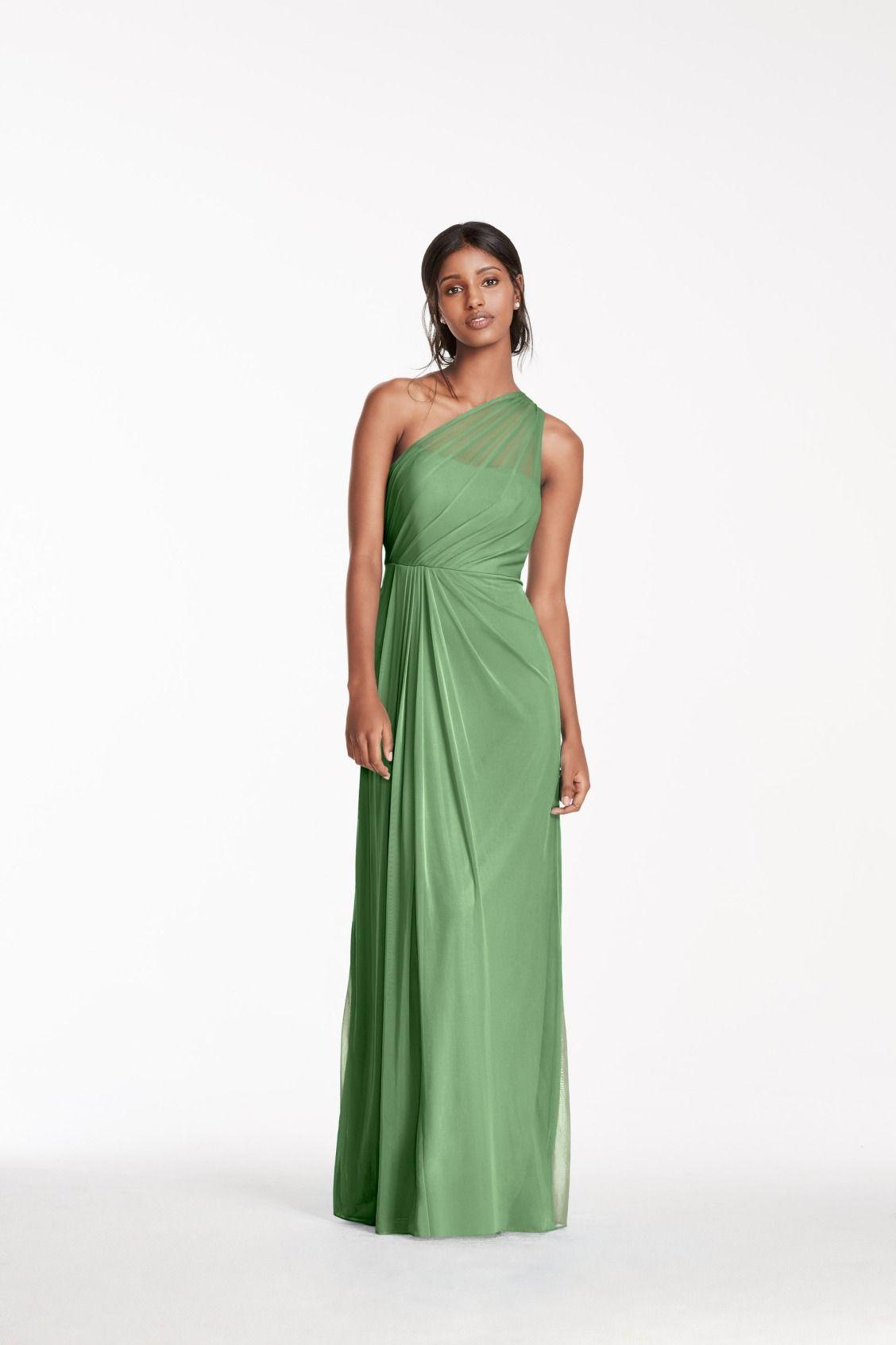Long Mesh Dress With One Shoulder Neckline David S Bridal Mesh Dress Dresses Davids Bridal Bridesmaid Dresses