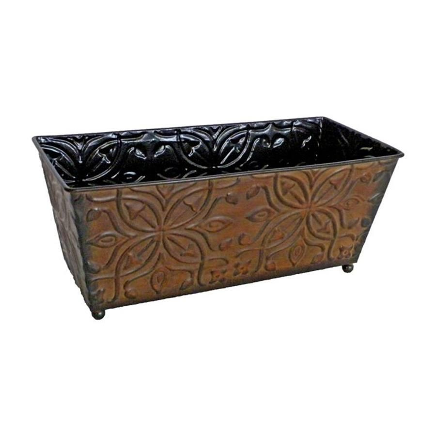 Cheungs 12in w x 5in h brown metal ledge planter lowes