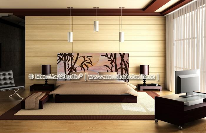 Cabecero de cama original pintado a mano http www - Cabecero de bambu ...