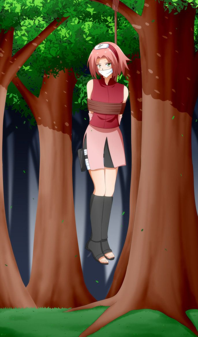 Sakura Hanging On A Tree | naruto tied up | Naruto, Sakura