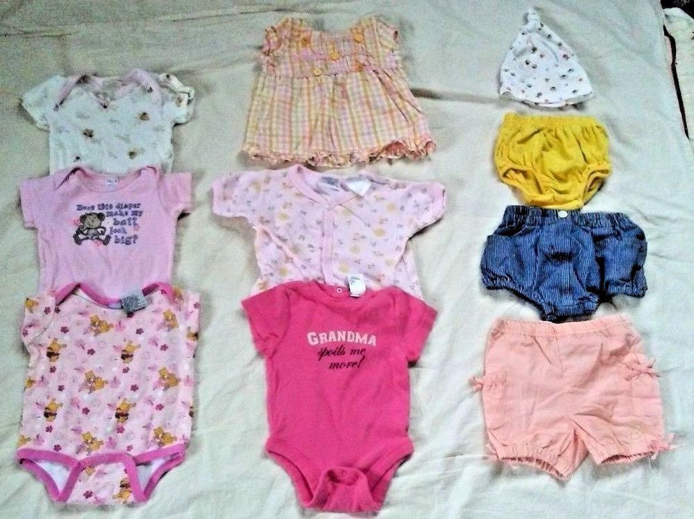 Lot Of 10 Baby Girl Clothes Size 3 6 Months Summer Dress Shorts