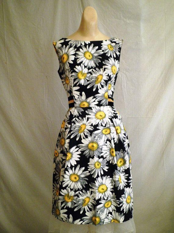 1960s Vintage Sundress Large Daisy Print Velvet Waistband by Herbert Sondheim 36…