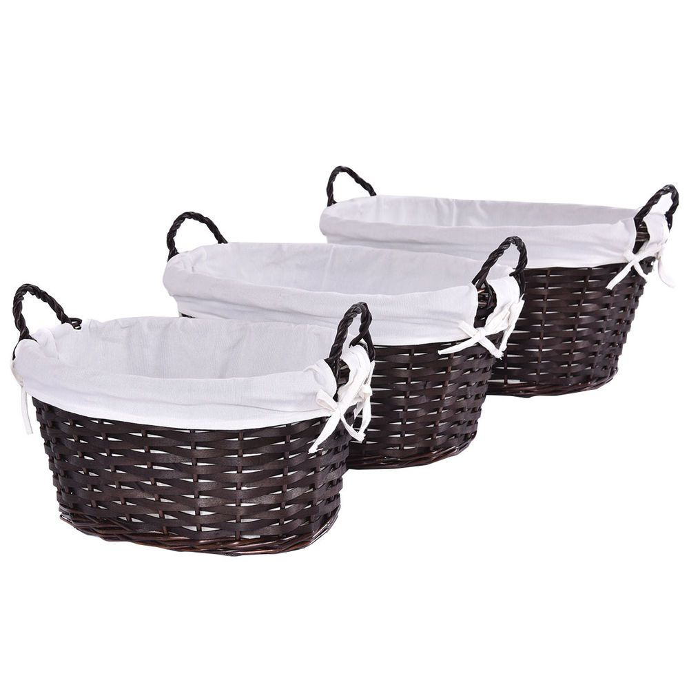 New Set Of 3 Oval Hand Woven Willow Wicker Storage Basket Organizer W/  Lining