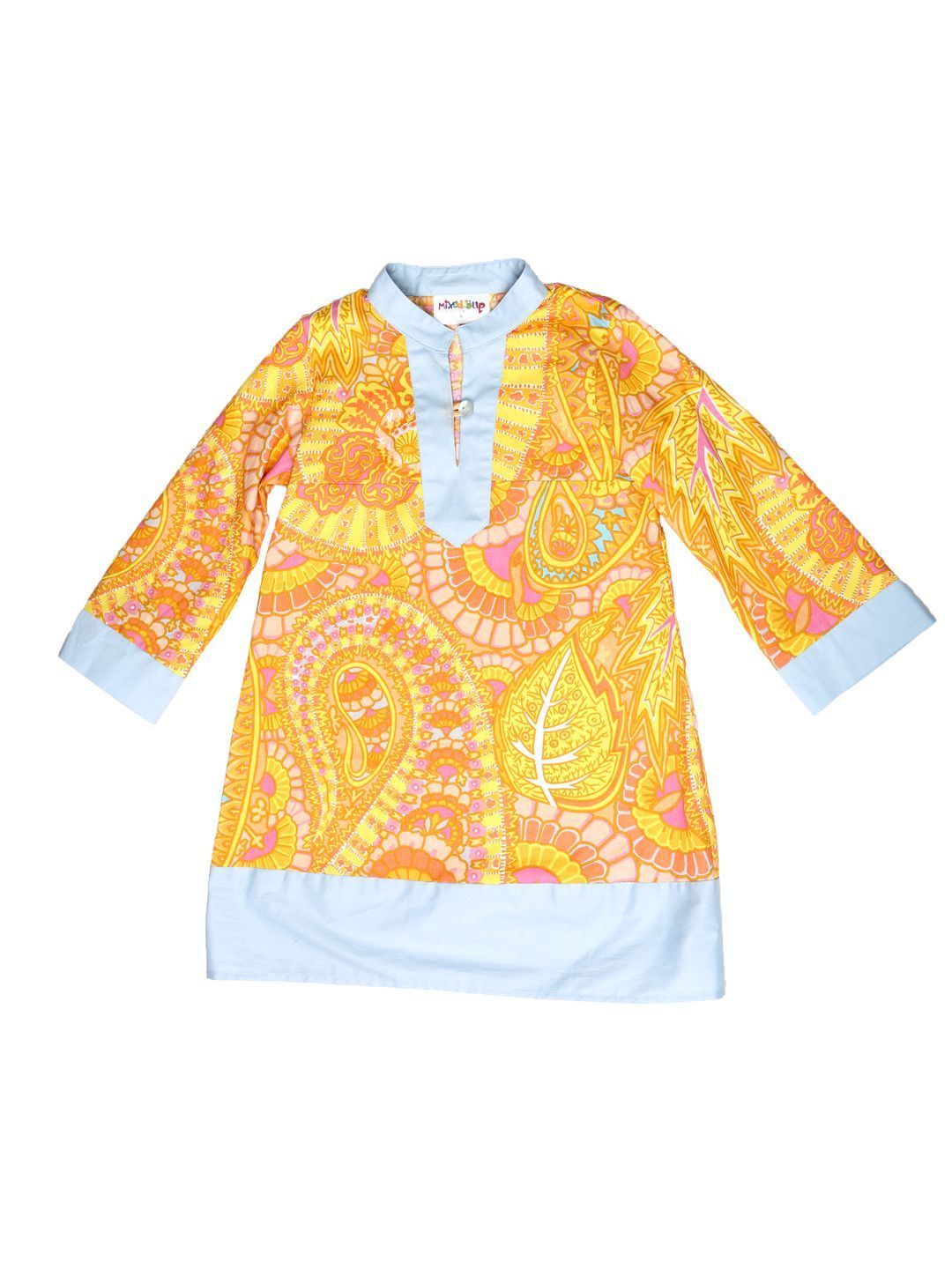 Indian inspired print dress yellowblue paisley print products