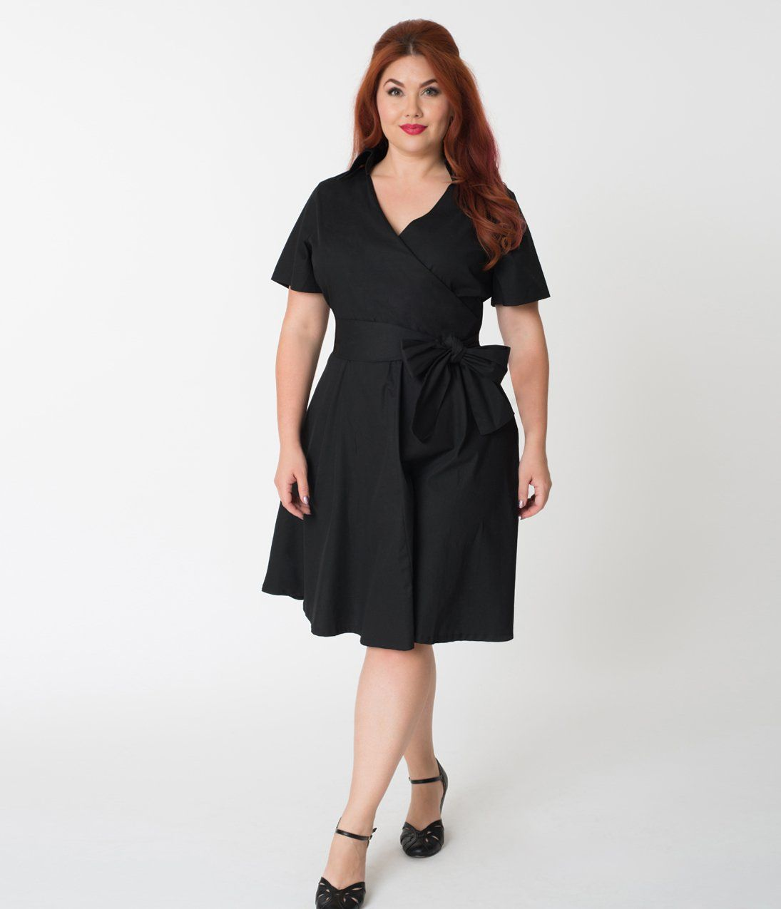 Plus size 1940s style black cotton short sleeves swing