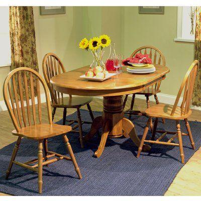 Farmhouse 5 Piece Dining Set In Oak