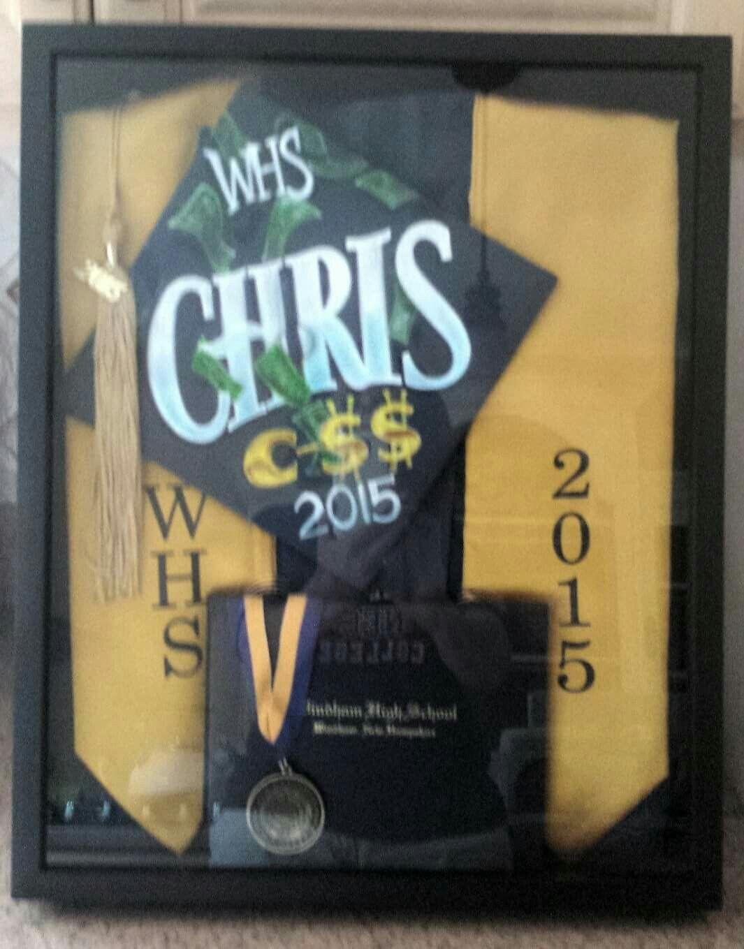 Large Shadow Box I Got At Hobby Lobby To Hold Chris Cap Gown Sash Diploma Tassel And Scholar Medal L Shadow Box Graduation Graduation Display Box Frame Art