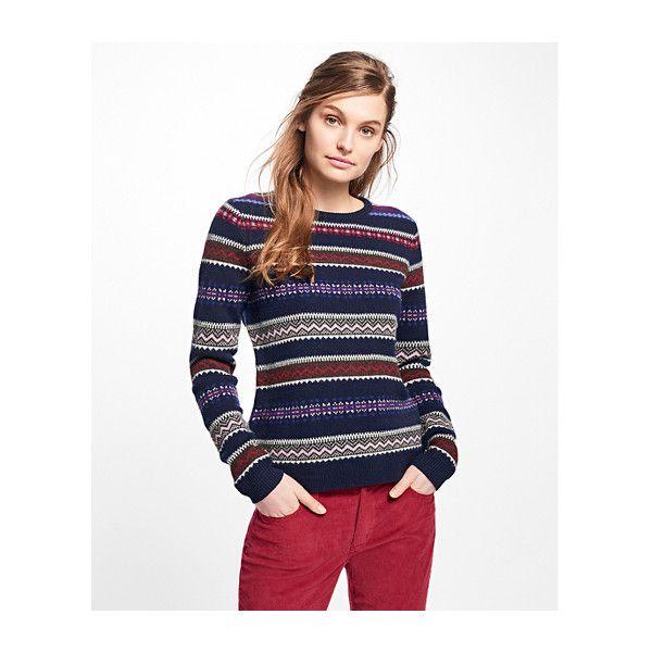 Brooks Brothers Lambswool Fair Isle Sweater (3,515 INR) ❤ liked ...
