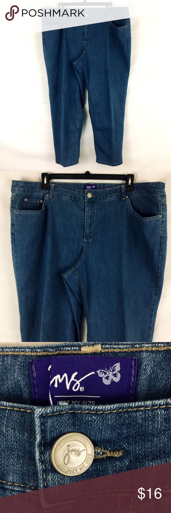 f60415a1b5b Just My Size Classic Fit Straight Mid Rise Jeans Just My Size Medium Blue  Wash Straight Classic Fit Jeans Women s size 26W Gently used