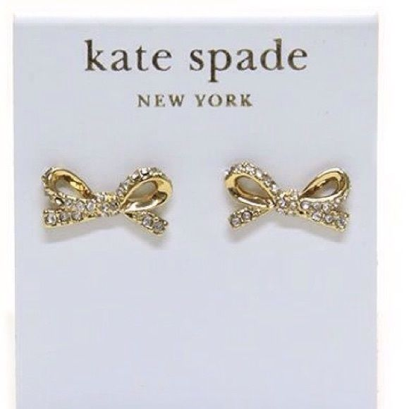Nwt Kate Spade Pave Bow Earrings