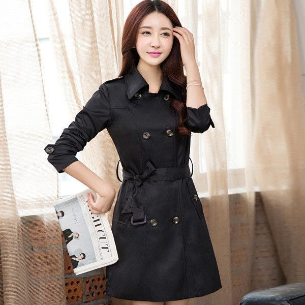 Turn-down Collar Lady Fashion Solid Trench Plus Size M-4XLm Double Breasted Woman Long Clothing