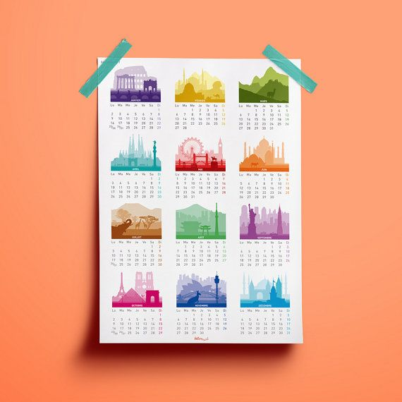 French Printable 2017 calendar Minimalist Big size by Biterswit - printable 2017 calendar