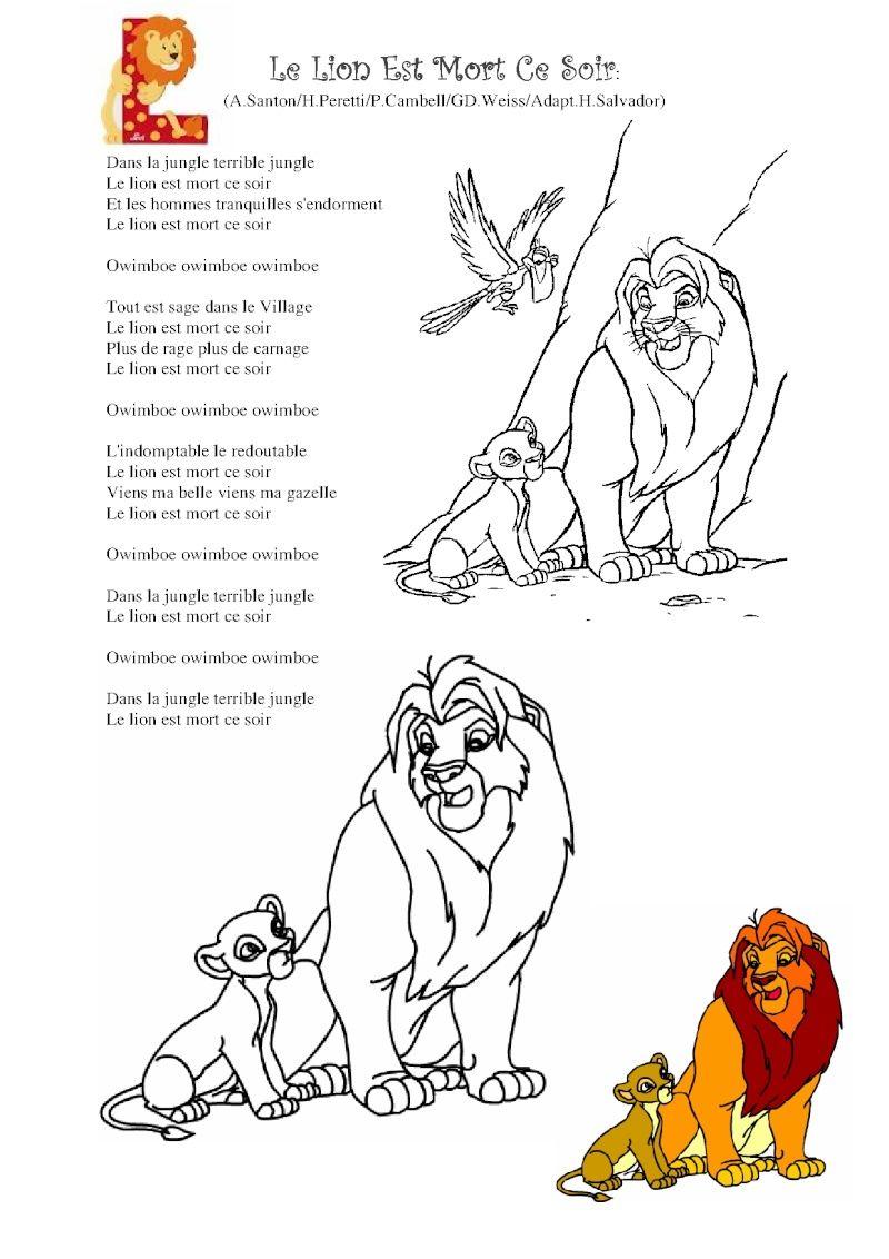 Parole Le Lion Est Mort Ce Soir : parole, Chant, Comptine, Africaine,, Chanson, Comptines