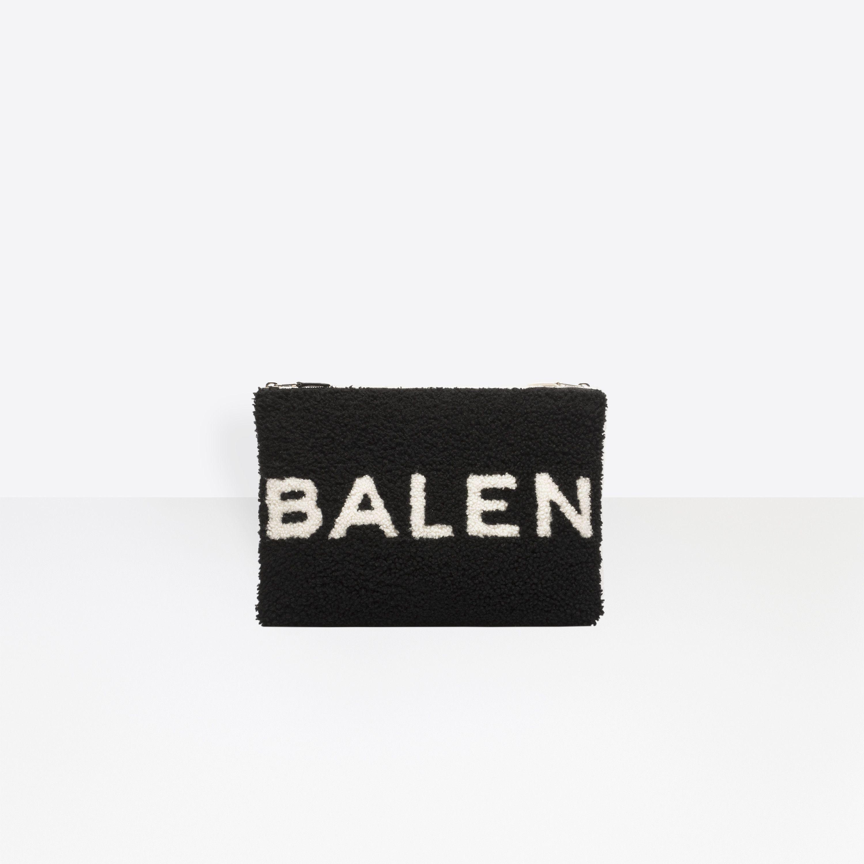 Balenciaga Shearling logo pouch ECKEagj