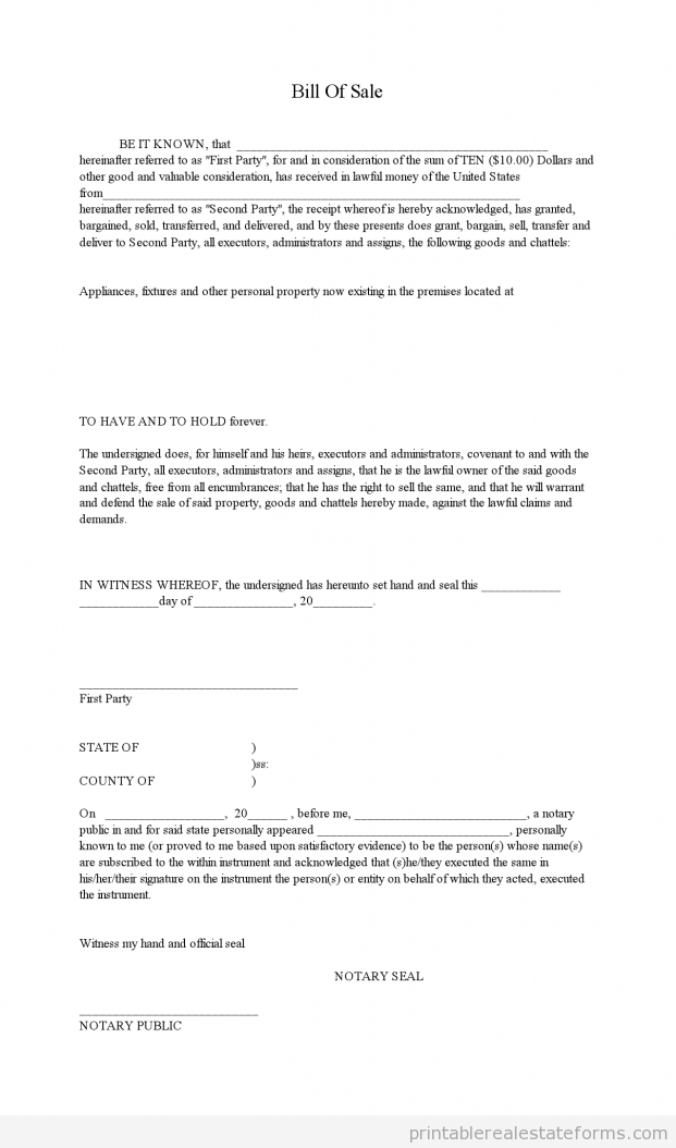 Bill Of Sale Form Real Estate Bill Of Sale Template Bill Of Sale For Real Estate Property Bill Of Sale Template Bill O Bill Of Sale Template Bills Paper Money