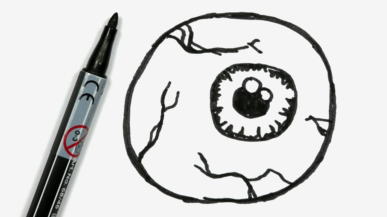 How To Draw A Cartoon Halloween Eyeball Easy Doodle For Children 3 Simple Doodles Doodle Drawings Drawings