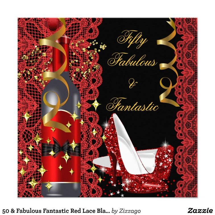 50 And Fabulous Text: 50 & Fabulous Fantastic Red Lace Black Birthday 2
