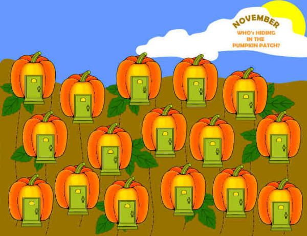 Who's Hiding in the Pumpkin Patch?  bulletin board idea from dltk-teach.com #pumpkinpatchbulletinboard