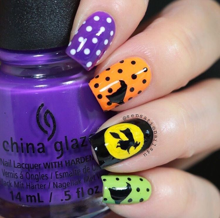 Orange Black Purple And Green Halloween Polka Dot Manicure By Sensationnails4u Using Our Witch Witch Hat Nail Art Decals Nails Halloween Nails Nail Decals