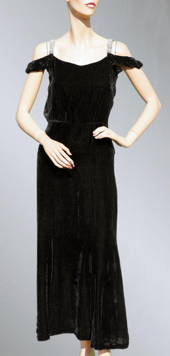 Vintage 30s Black Velvet Dress 1930s Evening Gown With Rhinestone