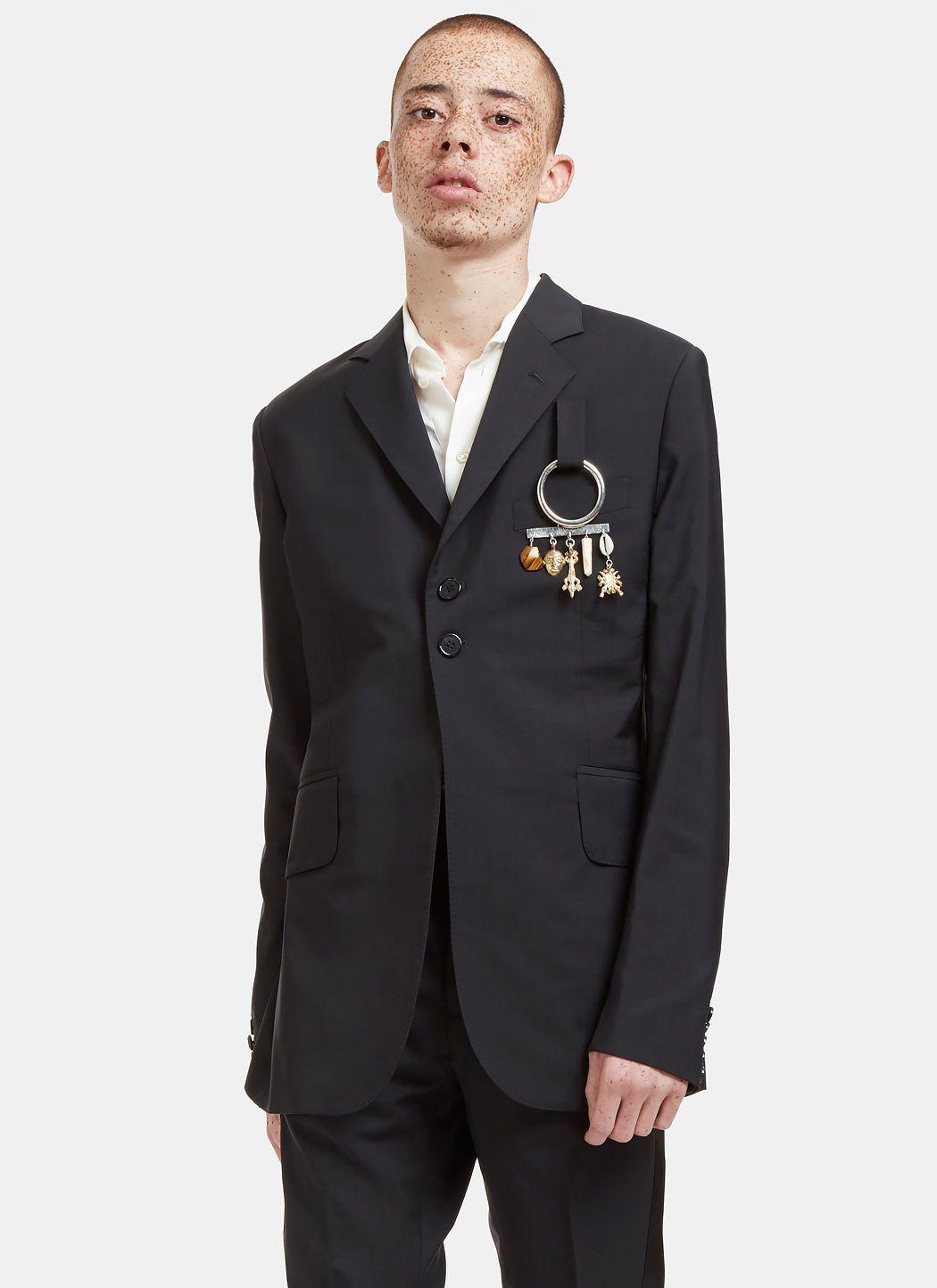 WALES BONNER Men's Alfred Charm Plaque Blazer Jacket in Black. #walesbonner #cloth #