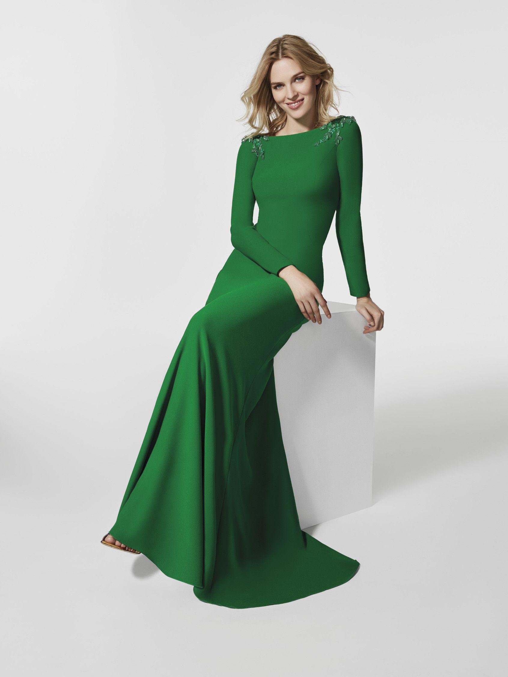 Vestido de gala largo verde