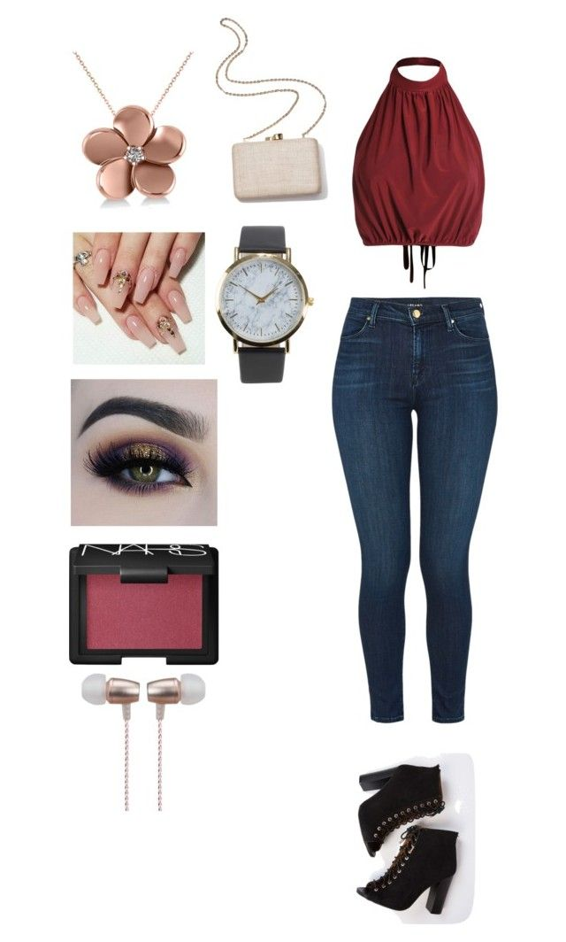 """""""Untitled #40"""" by katieescreations on Polyvore featuring J Brand, Allurez, Kayu, BHCosmetics, NARS Cosmetics, NLY Accessories and Cynthia Rowley"""