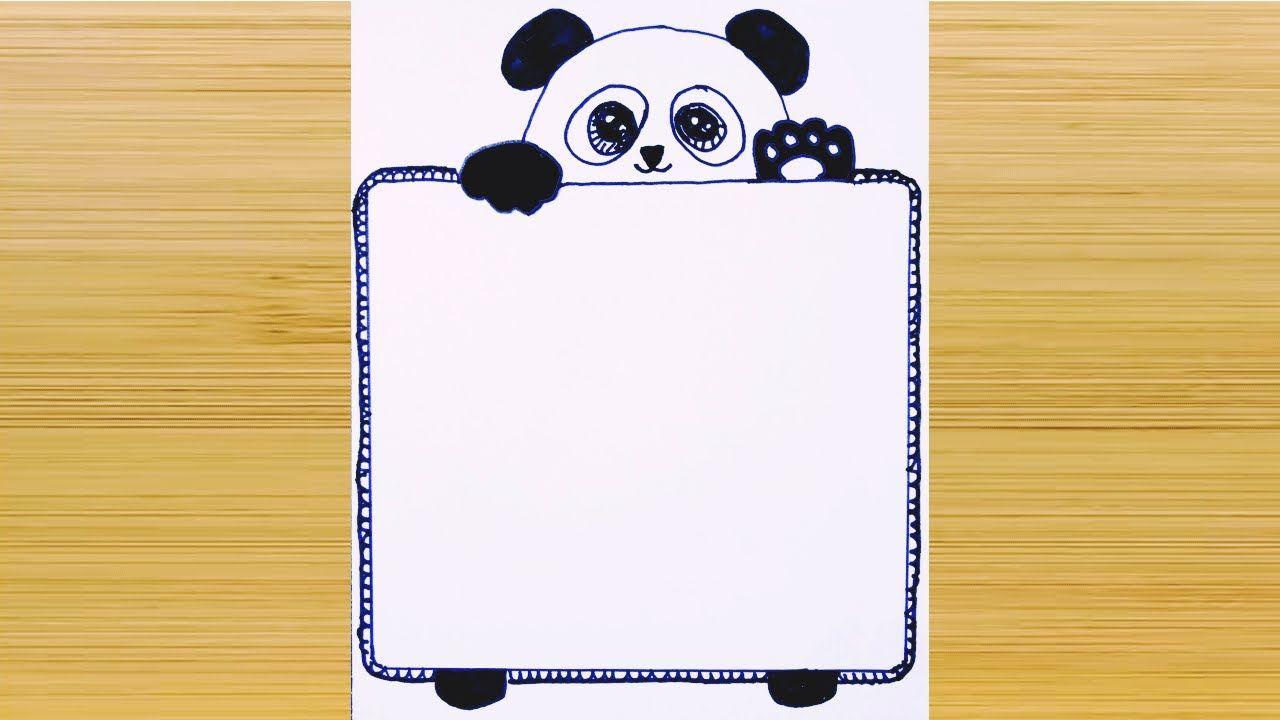 تزيين دفاتر المدرسة من الداخل لبنات المرحلة المتوسطة Border Design Cute Panda Paper Design