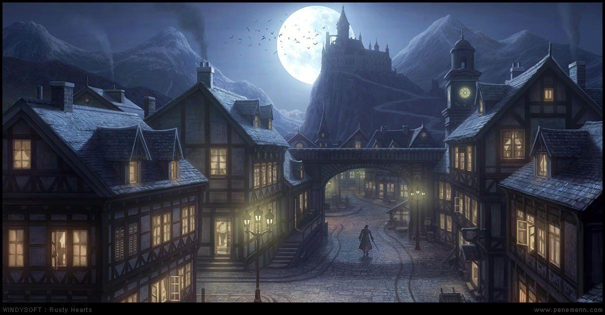 Village Night By Penemenn On Deviantart Fantasy Village Fantasy City Fantasy Town