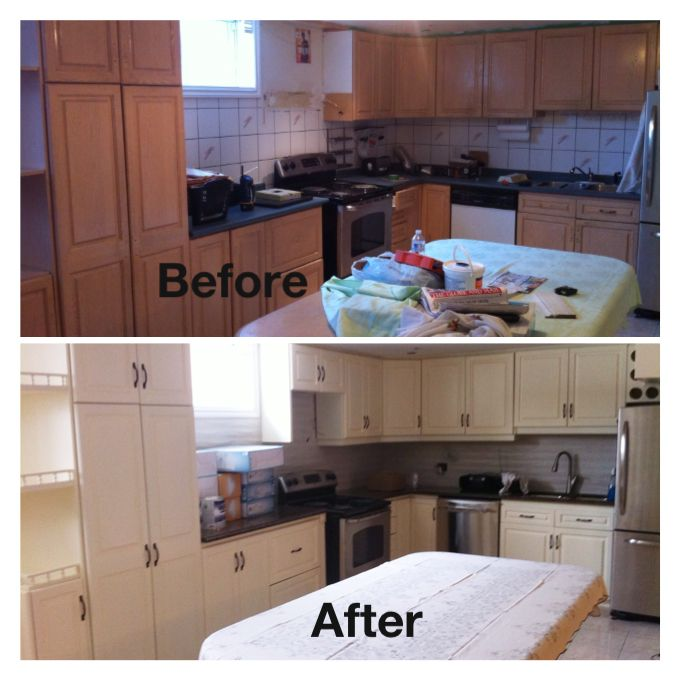 "Paint Kitchen Cabinets White Or Cream: Re-painted Kitchen Cabinets In Benjamin Moore ""Vanilla Ice"