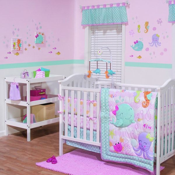 belle sea sweetie 3 piece girl crib bedding set - Baby Bedding For Girls