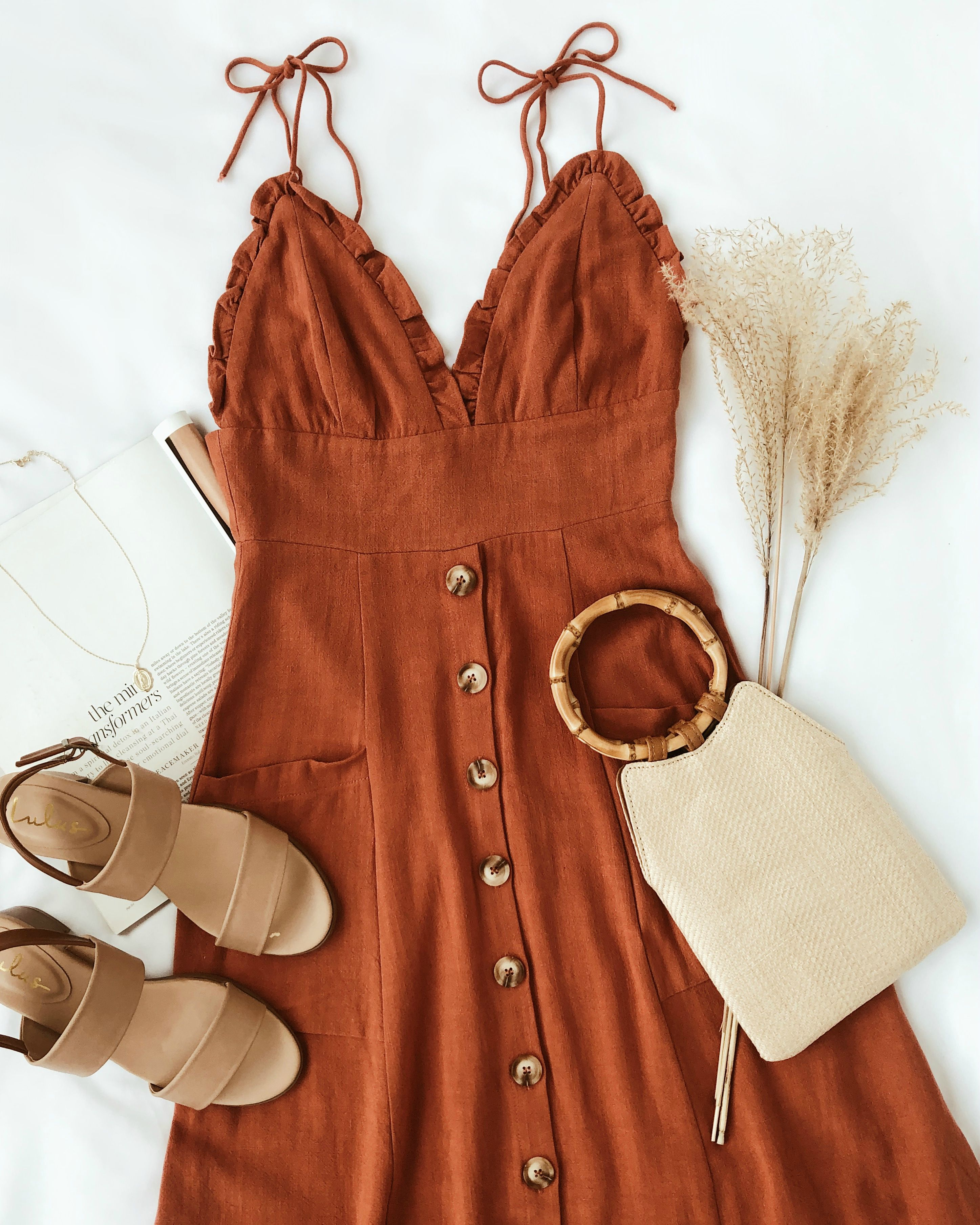 Lisbeth Rust Orange Button Front Midi Dress #vacationdestinations