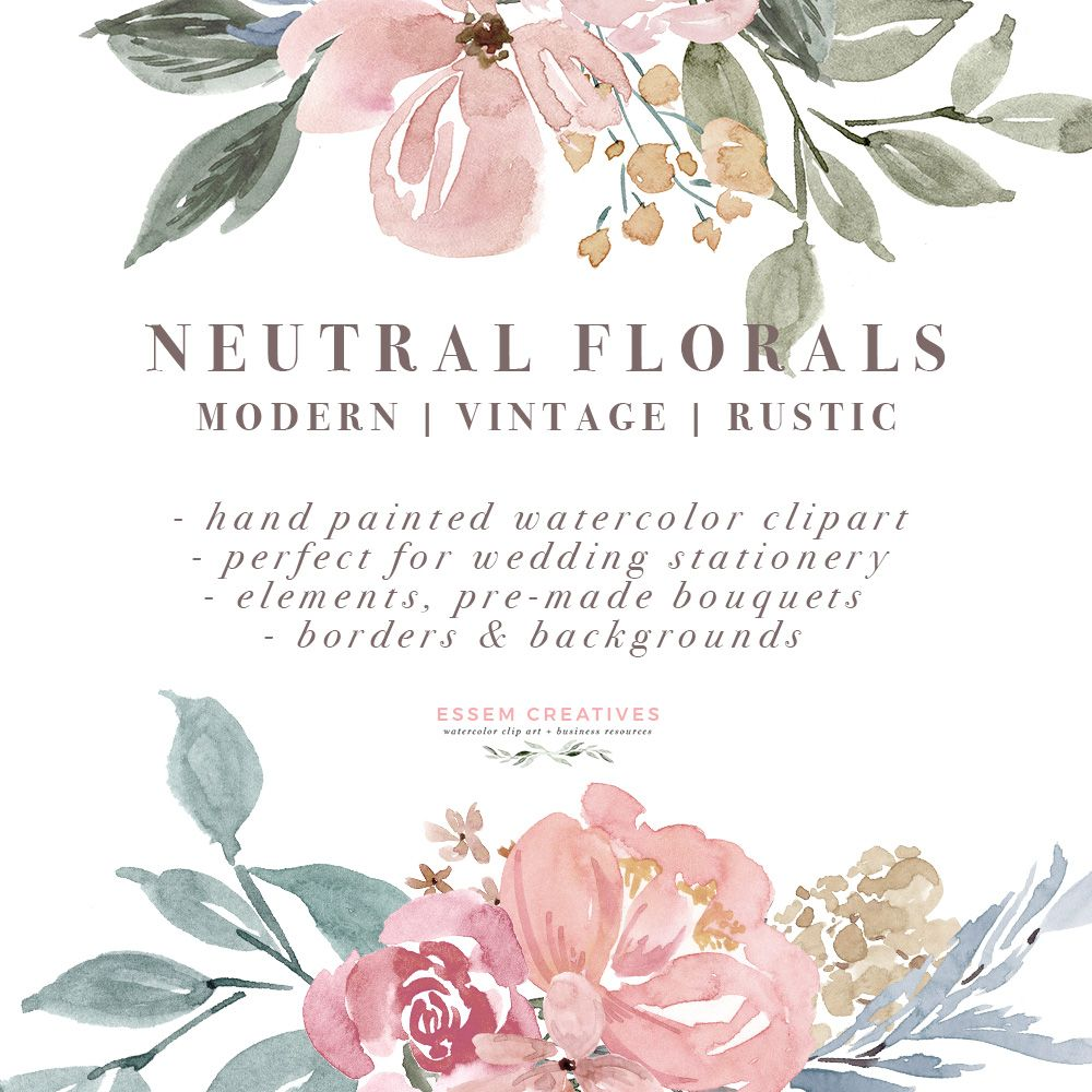 Free Watercolor Flowers Clipart, Floral Wreaths, 5x7