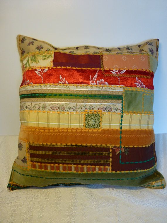 Patchwork cushion cover, recycled vintage fabrics | Pinterest ...