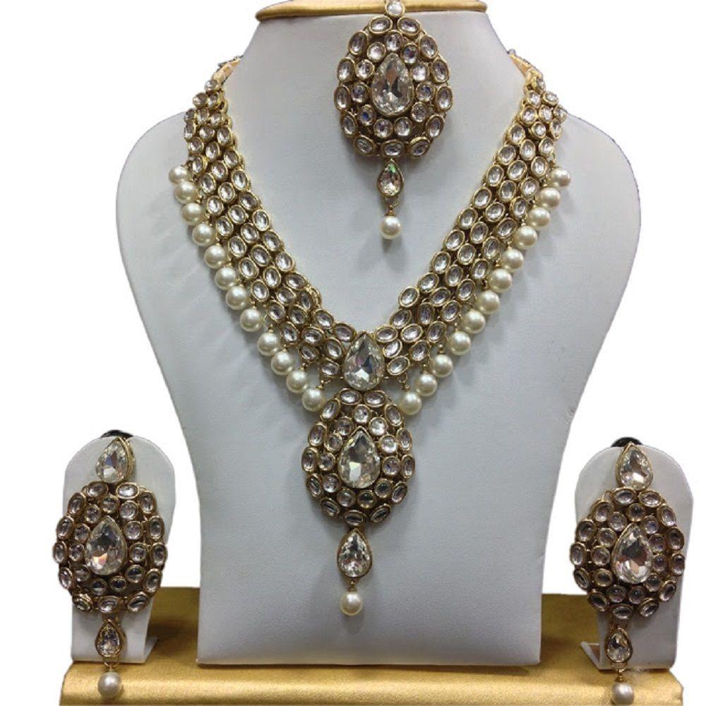 Amazing indian bollywood wedding u party white pearls kundan bridal