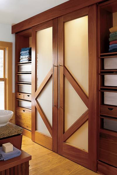 Sliding Doors Made Of Walnut With Frosted Glass Open To A Walk In Cedar Lined Closet Flanked By